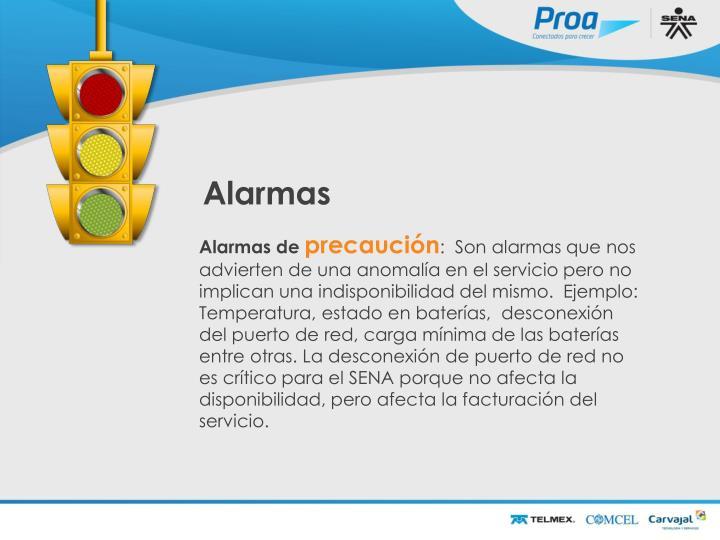 Alarmas de Precaución