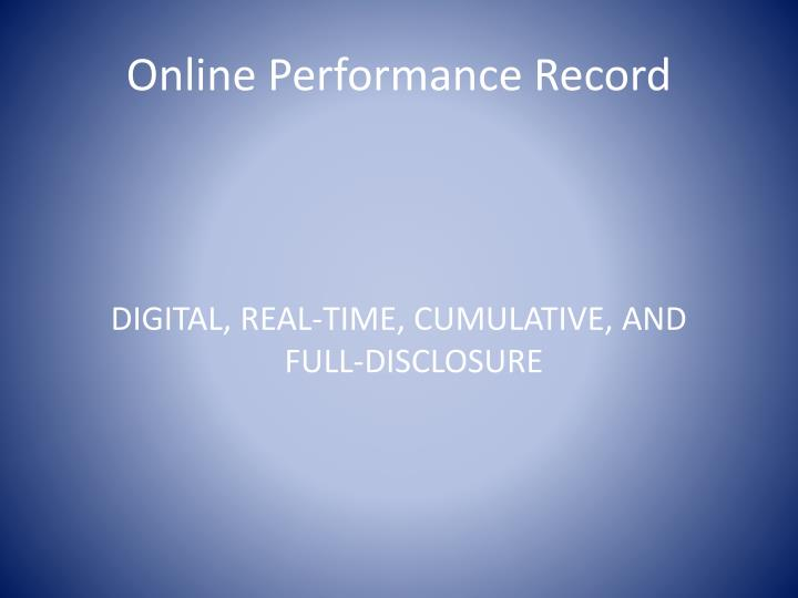 Online Performance Record