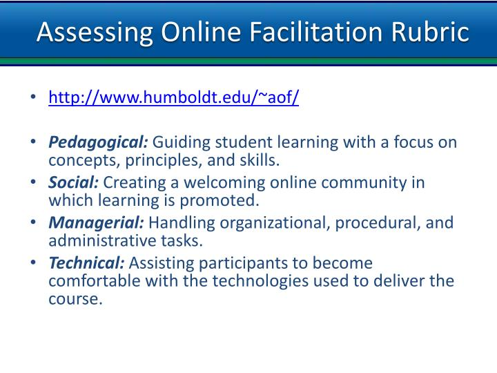 Assessing Online Facilitation Rubric