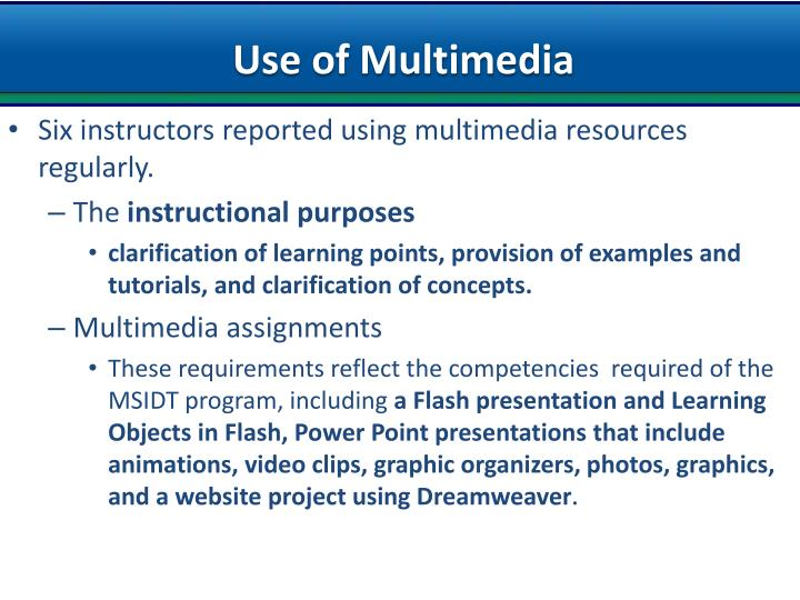 Use of Multimedia