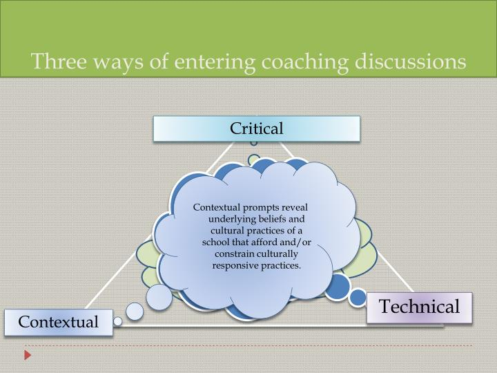 Three ways of entering coaching discussions