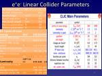 e e linear collider parameters