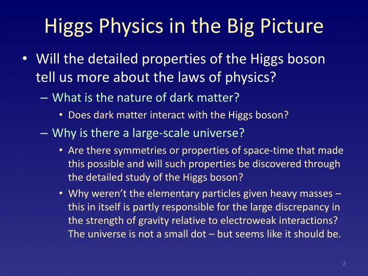 Higgs Physics in the Big Picture