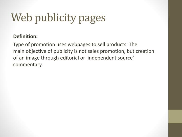 Web publicity pages