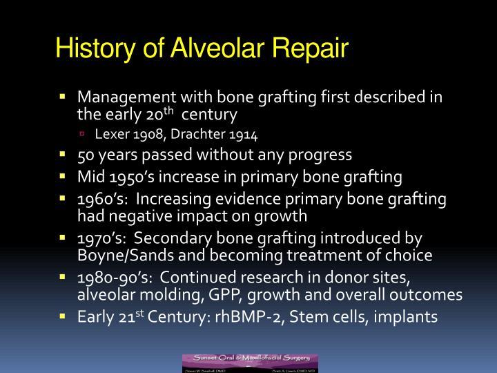 History of Alveolar Repair