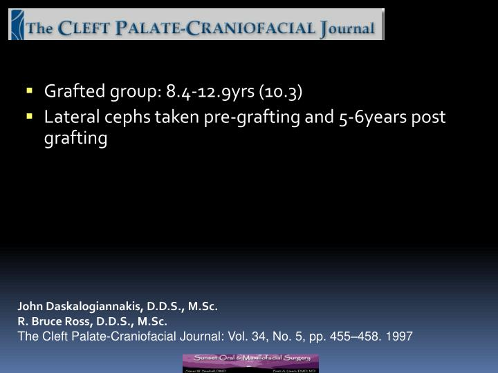 Grafted group: 8.4-12.9yrs (10.3)
