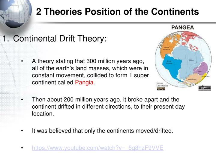 2 Theories Position of the Continents