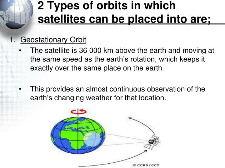2 Types of orbits in which satellites can be placed into are;