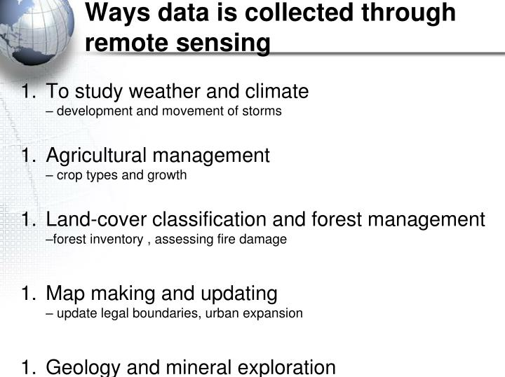 Ways data is collected through remote sensing