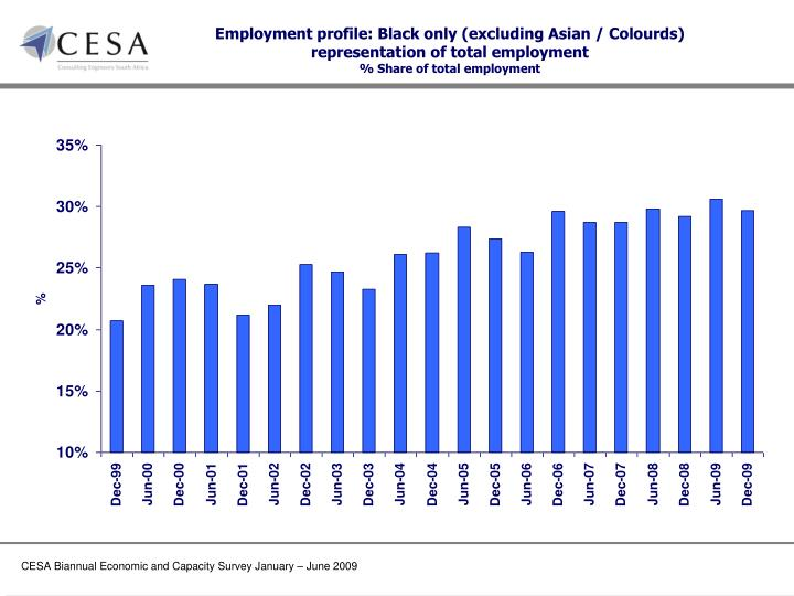 Employment profile: Black only (excluding Asian /