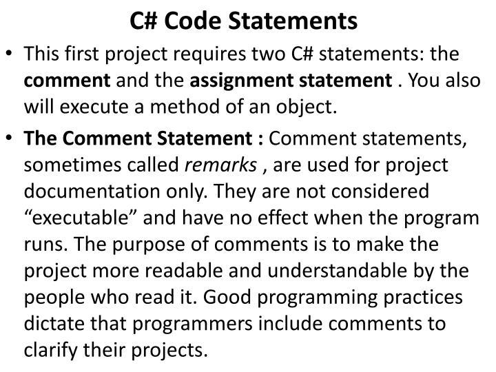 C# Code Statements
