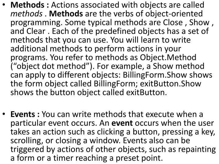 Methods :