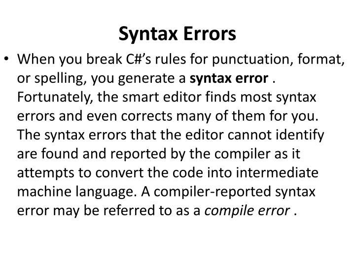 Syntax Errors