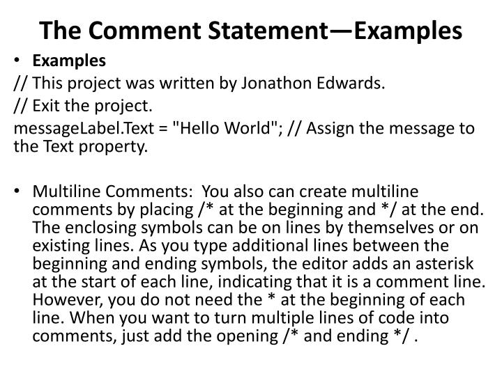 The Comment StatementExamples