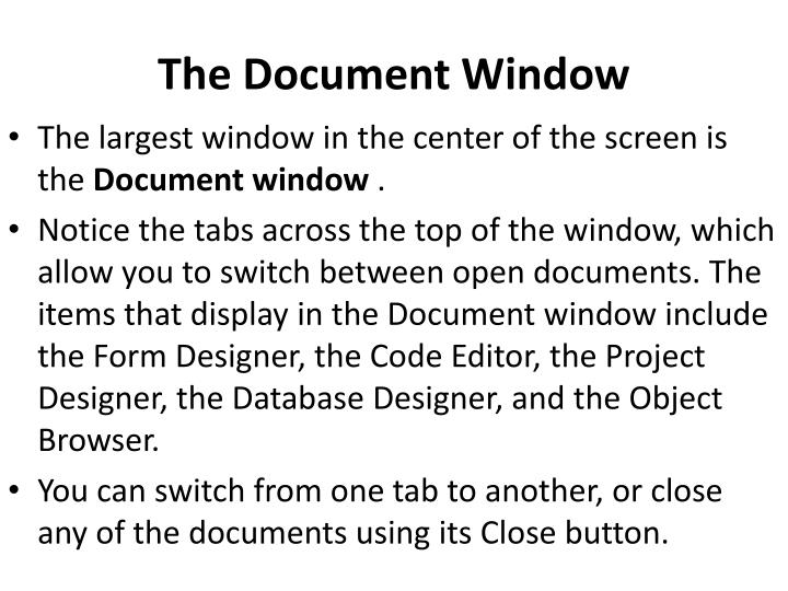 The Document Window