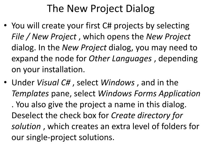 The New Project Dialog