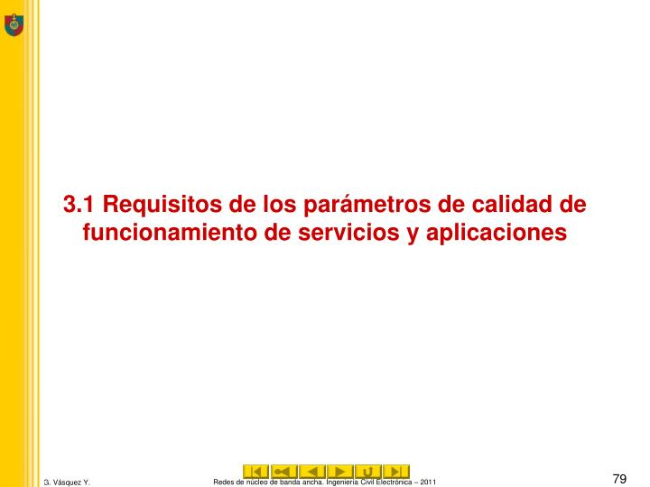 3.1 Requisitos de los parámetros de calidad de funcionamiento de servicios y aplicaciones