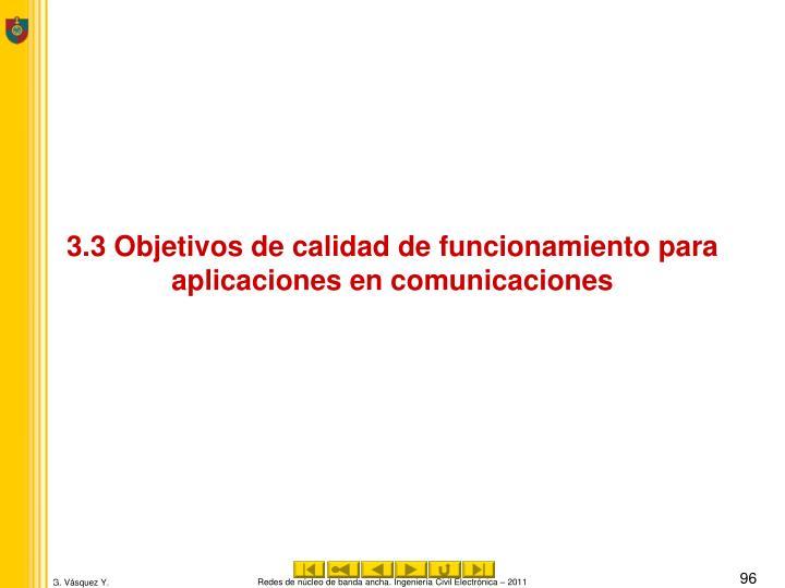 3.3 Objetivos de calidad de funcionamiento para aplicaciones en comunicaciones