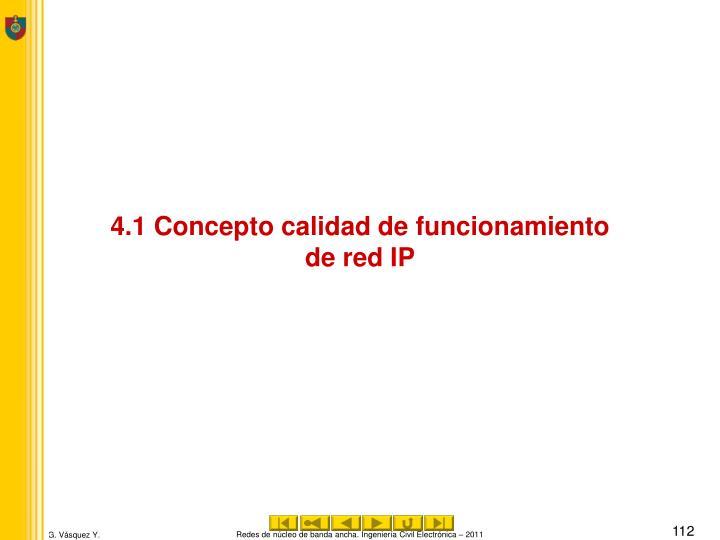4.1 Concepto calidad de funcionamiento