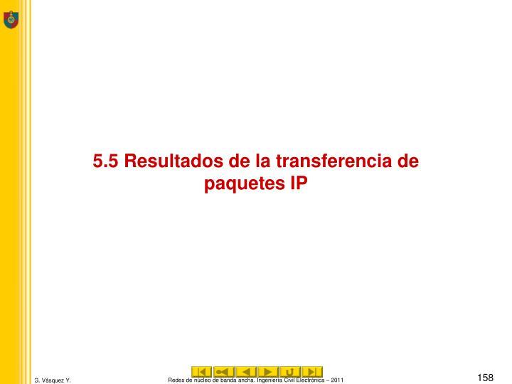 5.5 Resultados de la transferencia de