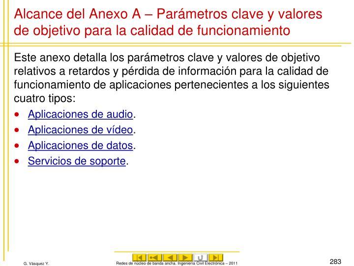 Alcance del Anexo A – Parámetros clave y valores de objetivo para la calidad de funcionamiento