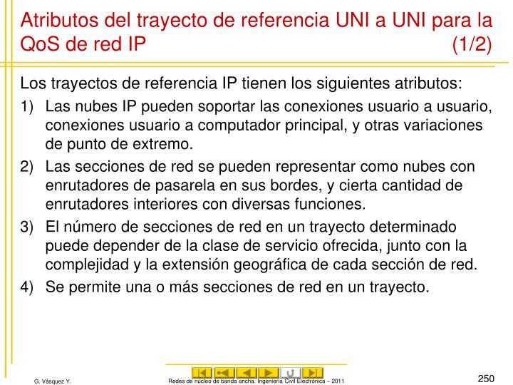 Atributos del trayecto de referencia UNI a UNI para la QoS de red IP (1/2)