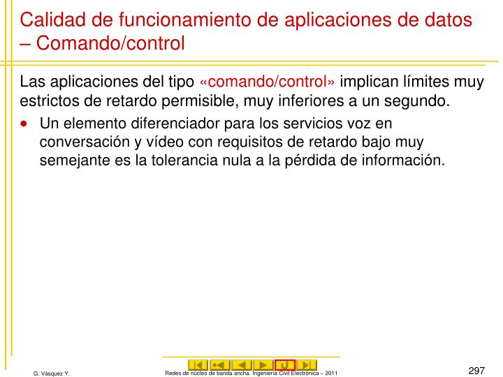 Calidad de funcionamiento de aplicaciones de datos – Comando/control