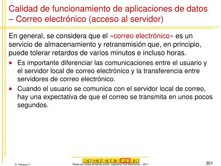 Calidad de funcionamiento de aplicaciones de datos – Correo electrónico (acceso al servidor)