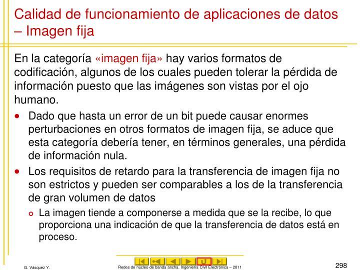 Calidad de funcionamiento de aplicaciones de datos – Imagen fija
