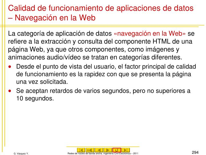 Calidad de funcionamiento de aplicaciones de datos – Navegación en la Web