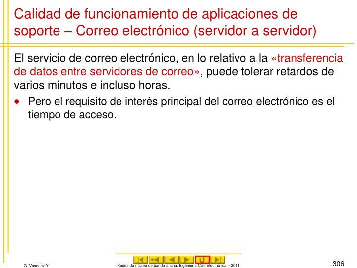 Calidad de funcionamiento de aplicaciones de soporte – Correo electrónico (servidor a servidor)