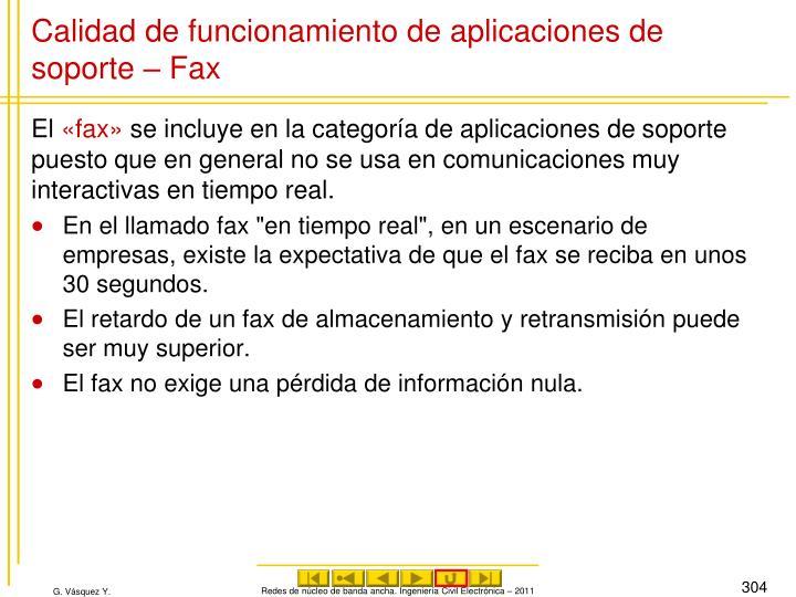 Calidad de funcionamiento de aplicaciones de soporte – Fax