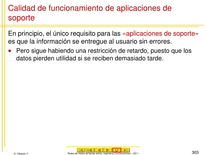 Calidad de funcionamiento de aplicaciones de soporte
