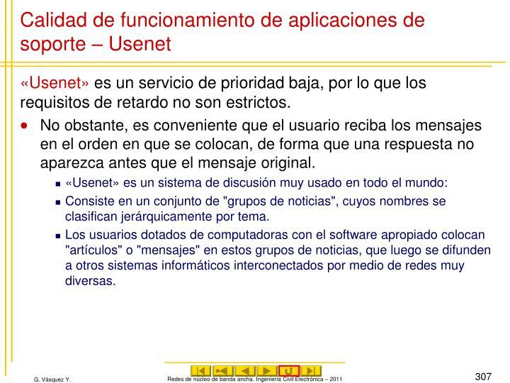 Calidad de funcionamiento de aplicaciones de soporte – Usenet