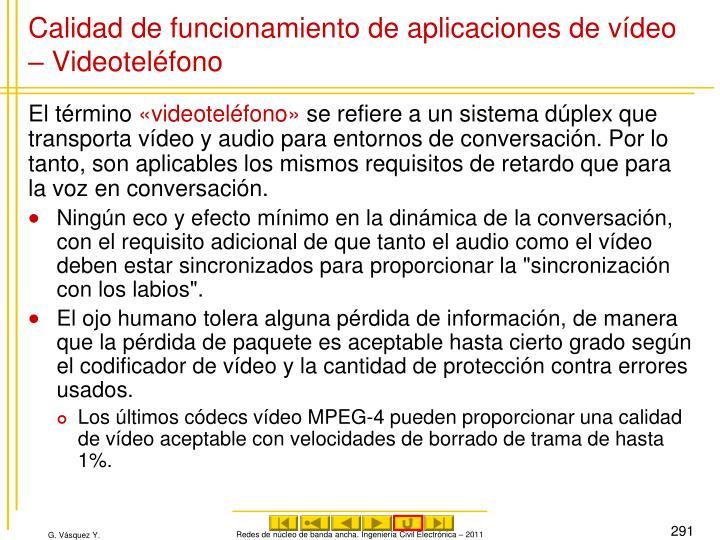 Calidad de funcionamiento de aplicaciones de vídeo – Videoteléfono