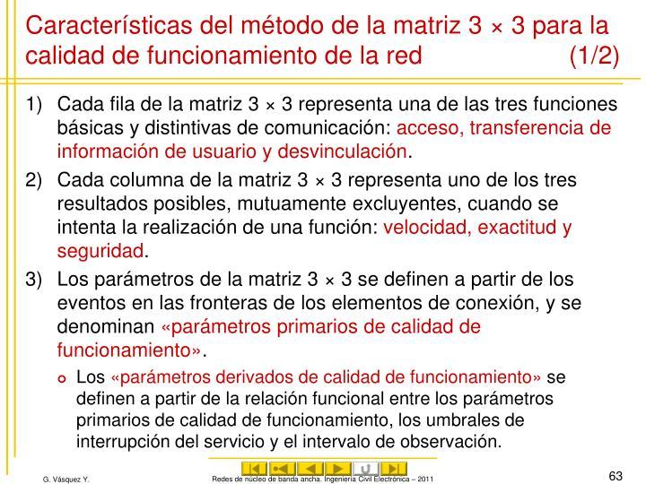 Características del método de la matriz 3 × 3 para la calidad de funcionamiento de la red(1/2)