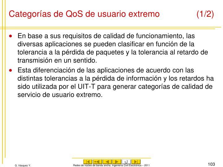 Categorías de QoS de usuario extremo(1/2)