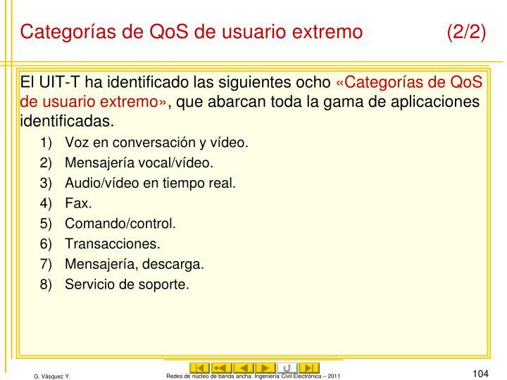 Categorías de QoS de usuario extremo(2/2)