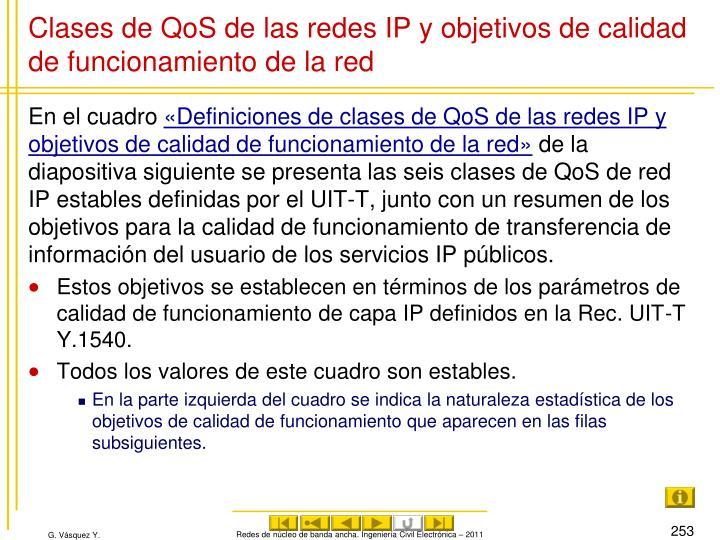 Clases de QoS de las redes IP y objetivos de calidad de funcionamiento de la red