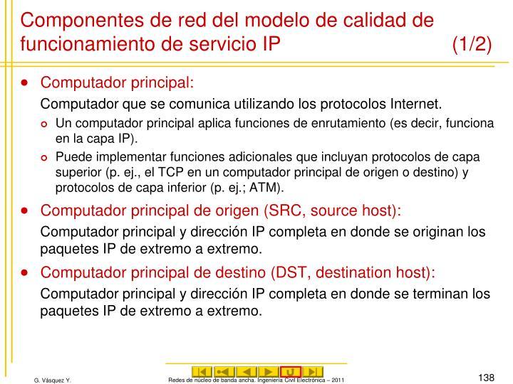 Componentes de red del modelo de calidad de funcionamiento de servicio IP (1/2)