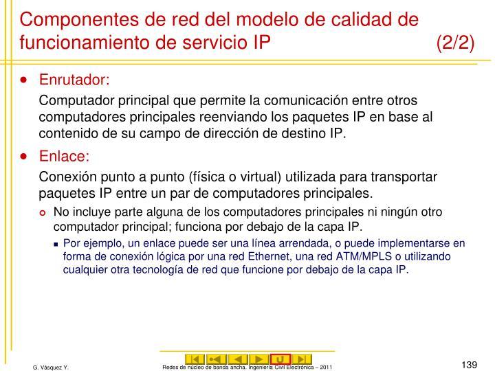 Componentes de red del modelo de calidad de funcionamiento de servicio IP (2/2)
