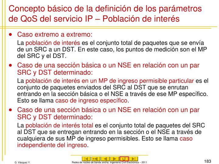 Concepto básico de la definición de los parámetros de QoS del servicio IP – Población de interés