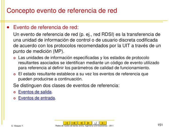 Concepto evento de referencia de red