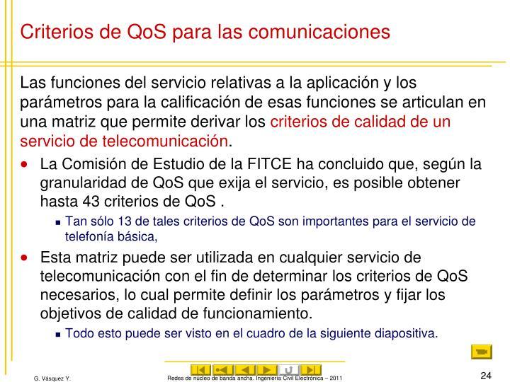 Criterios de QoS para las comunicaciones