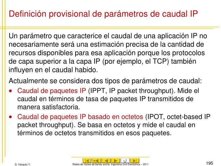 Definición provisional de parámetros de caudal IP