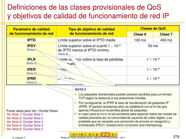 Definiciones de las clases provisionales de QoS