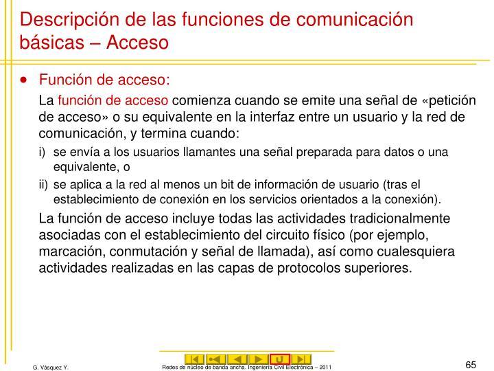 Descripción de las funciones de comunicación básicas – Acceso