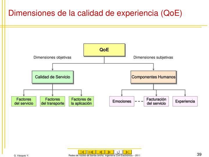 Dimensiones de la calidad de experiencia (QoE)