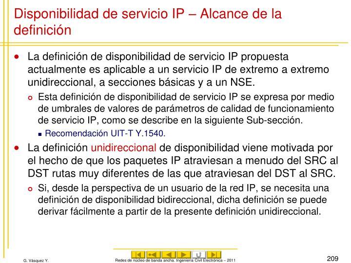 Disponibilidad de servicio IP – Alcance de la definición