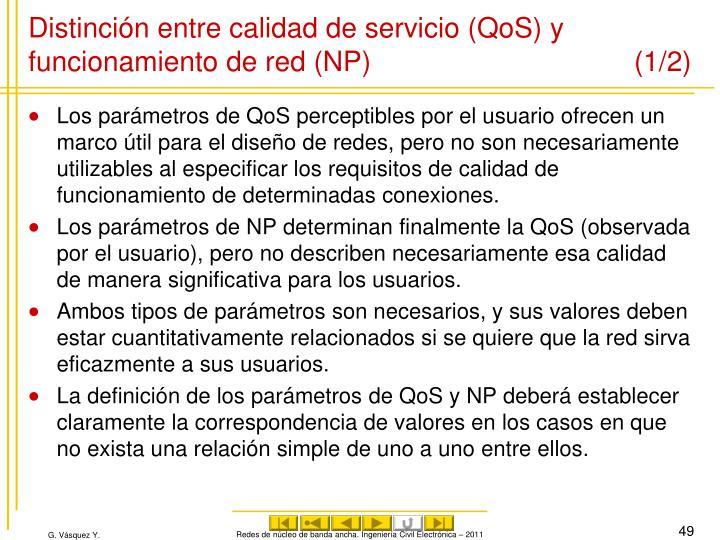Distinción entre calidad de servicio (QoS) y funcionamiento de red (NP) (1/2)